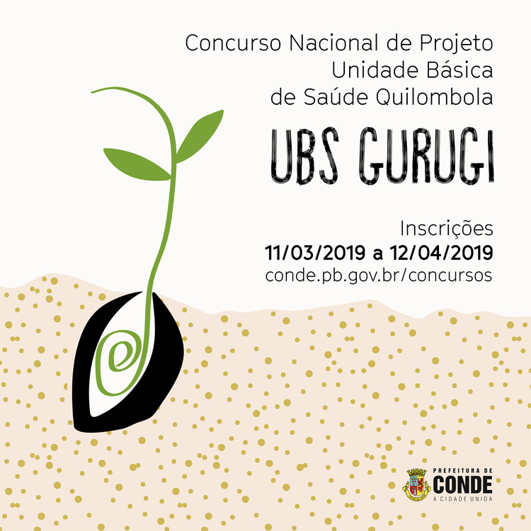 Prefeitura de Conde lança concurso nacional para projeto de UBS na comunidade quilombola do Gurugi, Cartaz Oficial