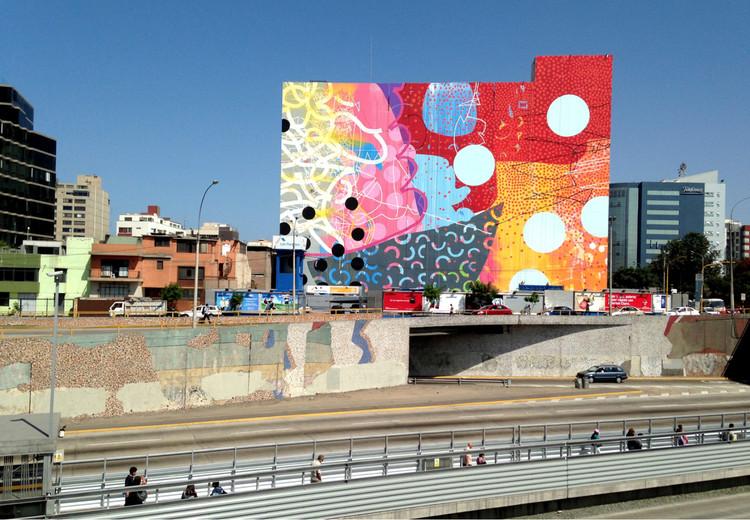 500 artistas pintarán el mural más grande del mundo en la Vía Expresa de Lima, © Wikipedia User: Alex Brewer. Licensed under CC BY-SA 4.0. ImageVía Expresa - elevación mosaicos