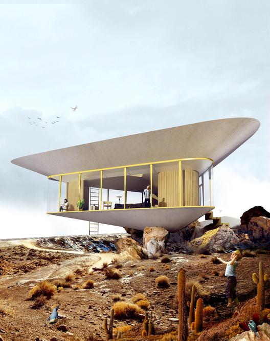 Anti Reality Designs Coastal Retreat with Inverted Rooftop Swimming Pool, Courtesy of Antireality