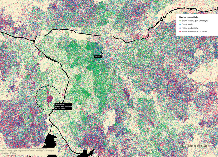 Recortes cartográficos – Muros de Ar, Nível de escolaridade – recorte do mapa da exposição Divisões Sólidas