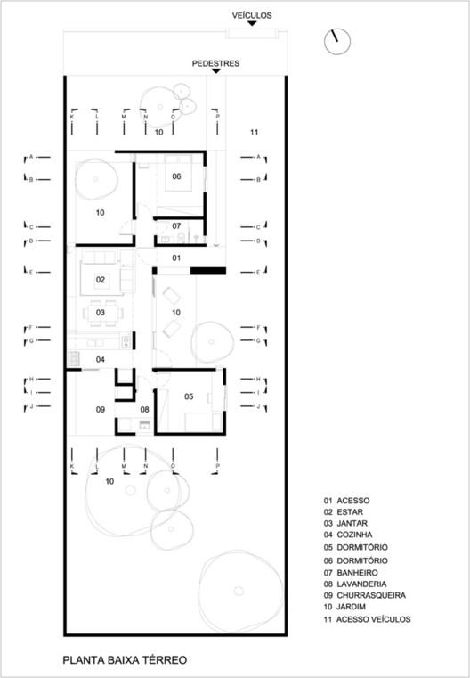 Planta - Casa Calha / Núcleo de Arquitetura Experimental