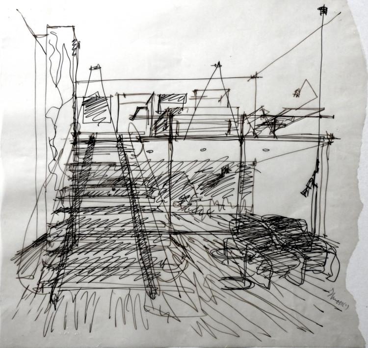 Desenhos de Norman Foster, Álvaro Siza e Souto de Moura em leilão na FAUP, Desenho de Eduardo Souto de Moura. Image Cortesia de Comunidade, Cultura e Arte