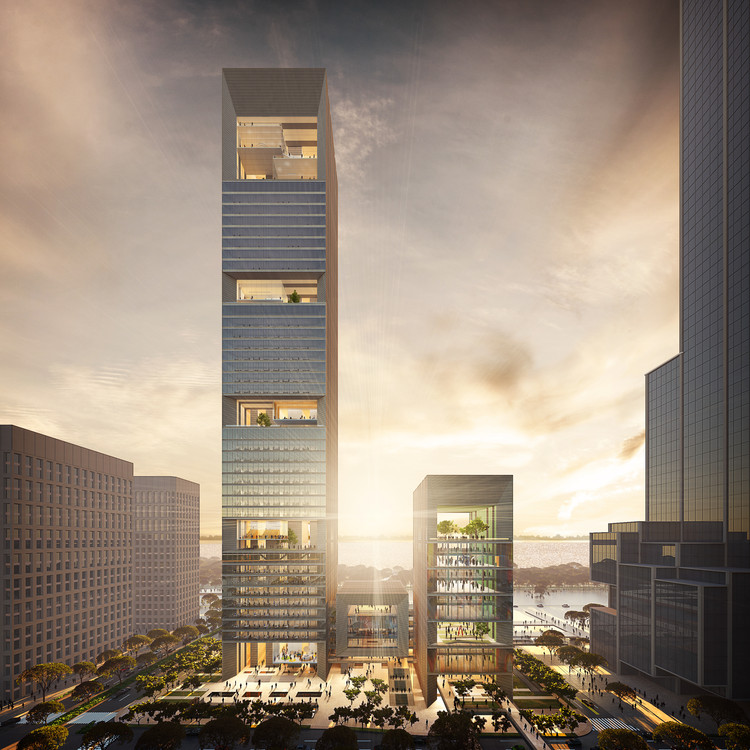 "GMP Wins Competition for Shenzhen Bay ""Culture Tower"", View from north. Image © gmp Architects"