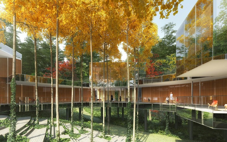 REX Unveils Final Design for Mirrored Necklace Residence, Necklace Residence. Image Courtesy of Luxigon