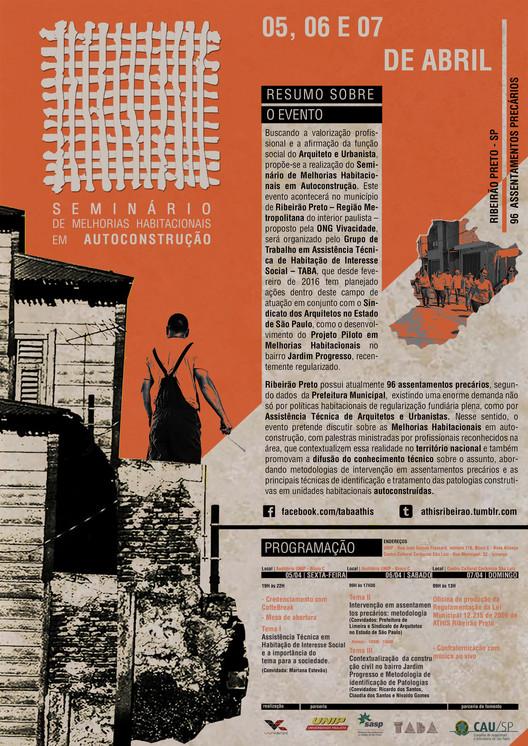 Seminário de Melhorias Habitacionais em Autoconstrução, Cartaz do evento com a programação completa
