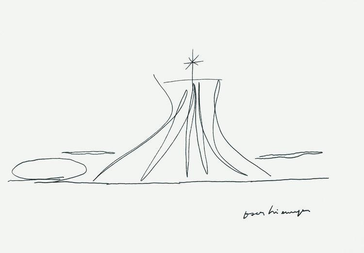 """Instituto Tomie Ohtake recebe a exposição """"Oscar Niemeyer (1907-2012) – Territórios da Criação"""", Oscar Niemeyer, sem título (Catedral de Brasília). Image Cortesia de Instituto Tomie Ohtake"""