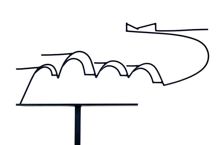 Oscar Niemeyer, Pampulha - série fios, 2004 - 2007, escultura em aço pintado. Image Cortesia de Instituto Tomie Ohtake