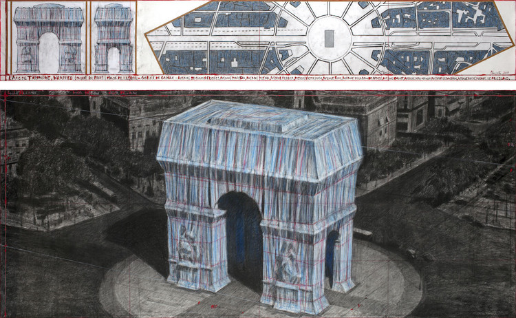 Christo will Wrap the Arc de Triomphe in Blue Fabric for his Next Work, Christo, L'Arc de Triomphe, Wrapped (Project for Paris) Place de l'Etoile – Charles de Gaulle, 2019. Imagem por André Grossmann, © 2019 Christo