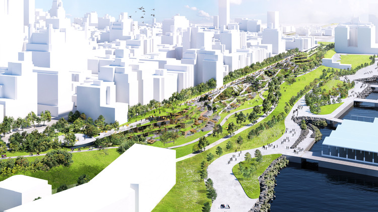BIG Covers Brooklyn Highway in Landscaped Waterfront Park, © Bjarke Ingels Group