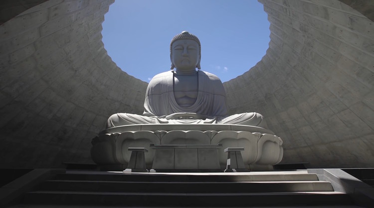 Screenshot of video of Hill of the Buddha at the Makomanai Takino Cemetery, Sapporo / Japan. Image © Hokkaido Fan Magazine