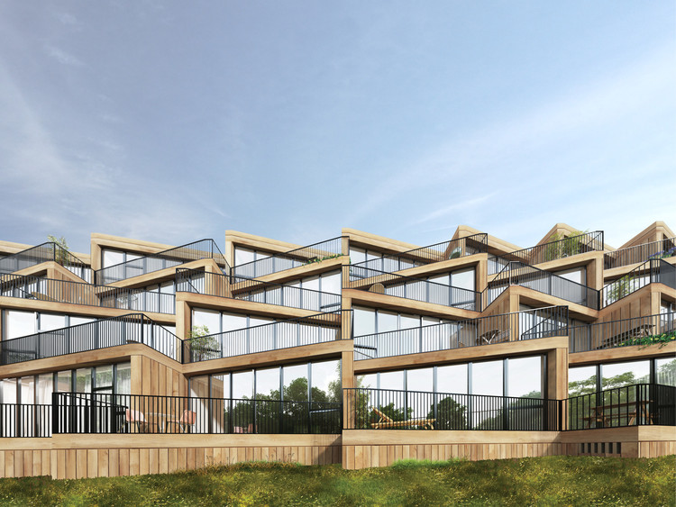 NL Architects + STUDYO Design Terraced Affordable Housing for Frankfurt, Terrace House. Image Courtesy of NL Architects