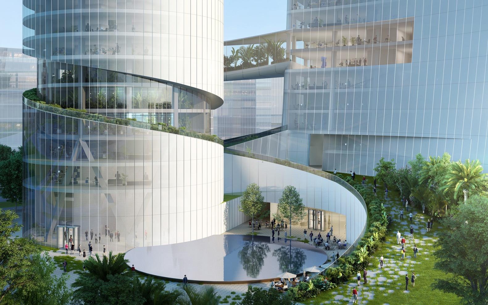 Здания объединены общим подиумом и воздушными мостами