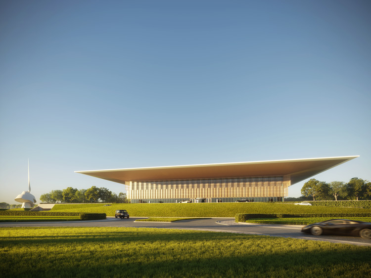 Foster + Partners projeta uma biblioteca pública em Sharjah, capital mundial do livro de 2019, The Scroll por Gerry Judah na parte externa da Casa da Sabedoria celebrando o World Book Year em Sharjah. Imagem © Foster + Partners