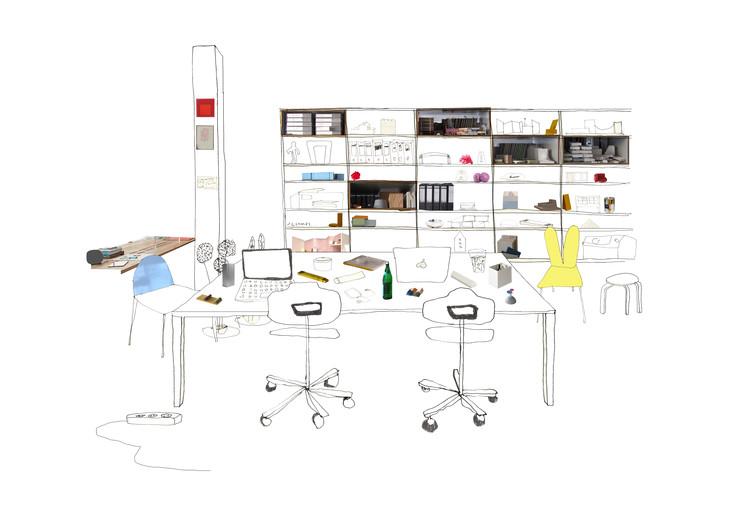 Los espacios de trabajo domésticos en las oficinas de arquitectura, a través de los collages de Silvia Garcia Camps, Cortesía de Silvia Garcia Camps