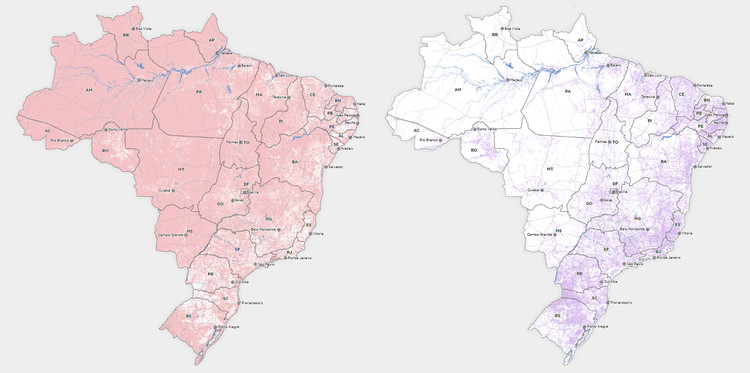 Mapas do Brasil revelam áreas praticamente desertas do território nacional, via Nexo Jornal