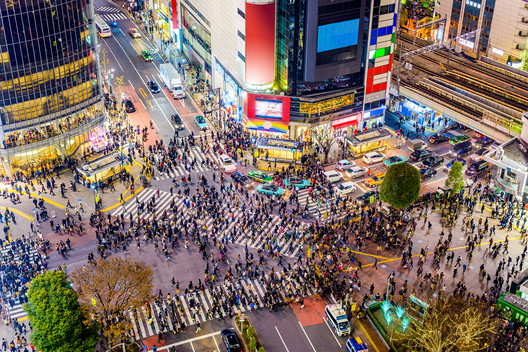 World-recognized Shibuya crosswalk in Tokyo, Japan. Image © Sean Pavone