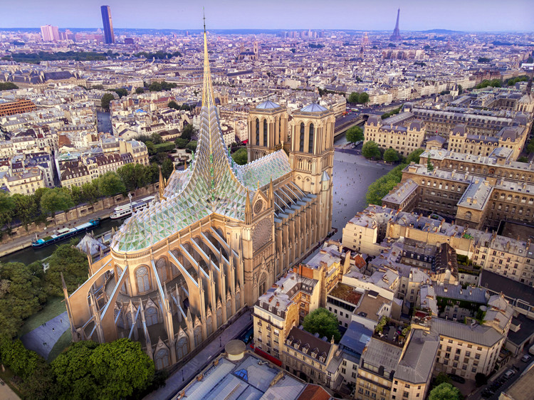 Vincent Callebaut Architectures Reveals Tribute to Notre-Dame with Rooftop Farm