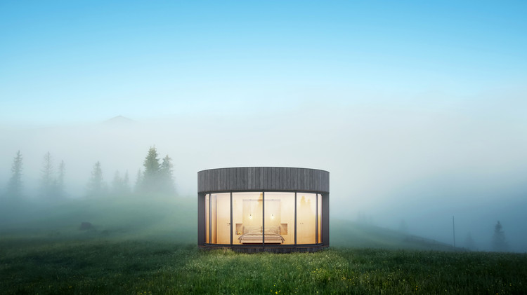 Lumicene Designs Minimalist Prefab with Curved Glass to Connect with Nature, LumiPod. Image Courtesy of Oxygen