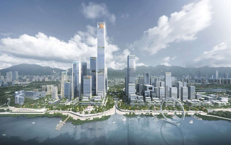 Henning Larsen entre os vencedores para projetar a nova sede da Shenzhen Bay na China, Shenzhen Bay Headquarters City. Image Courtesy of Henning Larsen