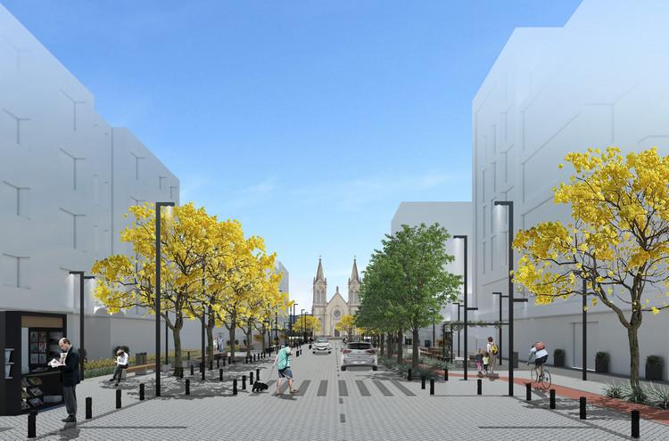 Bloco B arquitetura e Giz de Terra vencem concurso para requalificação urbana em Veranópolis - RS, Eixo central. Image Cortesia de bloco B arquitetura