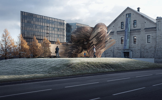"""The winner of the Installation Program """"Huts and Habitats"""": Steampunk, designed by Soomeen Hahm Design, Igor Pantic, and Fologram. Image Courtesy of Tallinn Architecture Biennale"""