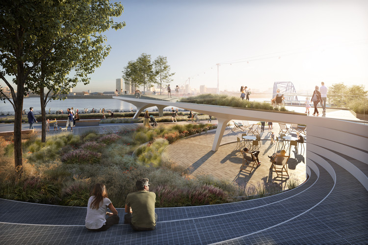 Diller Scofidio + Renfro and Neiheiser Argyros Unveil Design for The Tide Linear Park in London , The Tide Phase 1: Island 5 Sunken Garden. Image © Uniform
