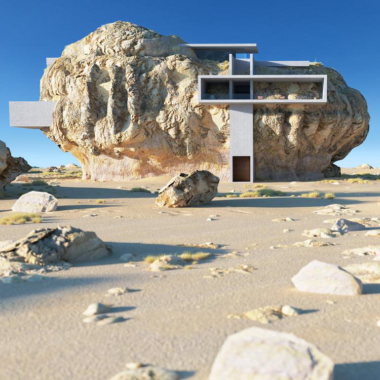 Amey Kandalgaonkar explora a relação da arquitetura com a natureza mesclando formas geométricas e rochas do deserto, House Inside a Rock. Imagem © Amey Kandalgaonkar