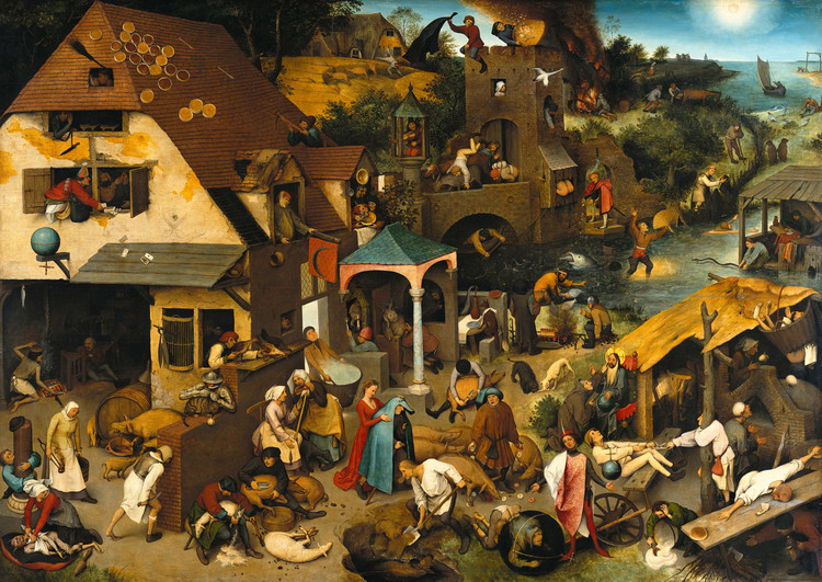 Is the Internet Bringing Us to the Middle Ages? / Deyan Sudjic's Response to the Curatorial Statement of the Shenzhen Biennale(UABB) 2019, Netherlandish Proverbs, by Pieter Bruegel the Elder, 1559, a photographic reproduction by Google Cultural Institute