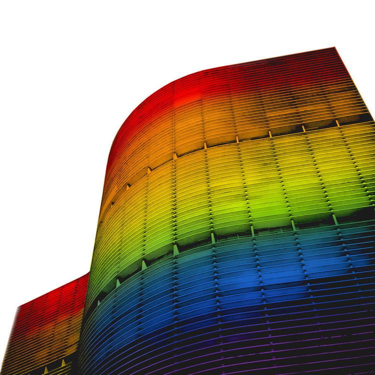 Copan terá sua fachada transformada na bandeira LGBT , Simulação da fachada do Copan com as luzes