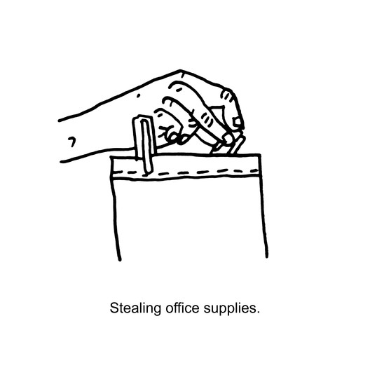 Stealing Office Supplies. Image © Chanel Dehond