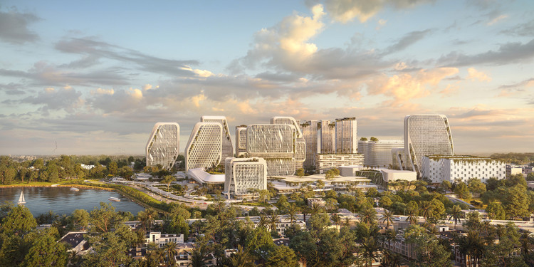 """UNStudio projeta novo distrito de inovação e tecnologia no """"Vale do Silício"""" da Índia, Skyline. Imagem © UNStudio"""