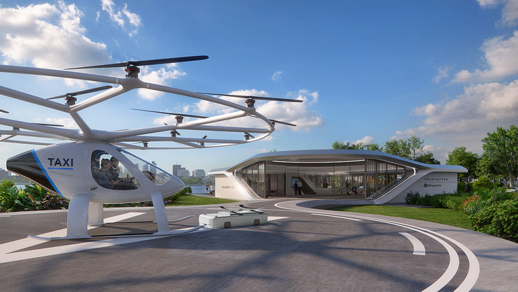 GRAFT Designs First Mobile Volo-Port for Air Taxis, Air Taxi Volo-port. Image Courtesy of GRAFT/Brandlab/Skyports/Volocopter