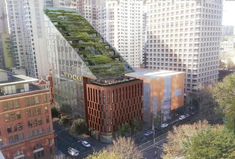 "BVN Designs a ""Green Waterfall"" Roof for Sydney's Pitt Street Hotel, Courtesy of BVN"