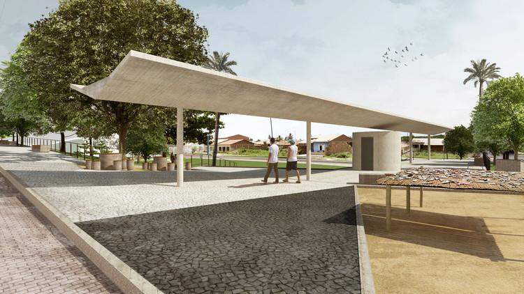 Coletivo de Arquitetos projeta praça de lazer e cultura no litoral de Sergipe, Vista marquise a partir da via pública. Image Cortesia de Coletivo de Arquitetos