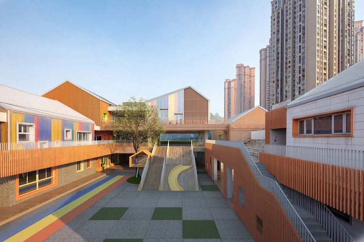 Yorkville North Kindergarten / IDO, atrium (composite image). Image © DID STUDIO + Shangzhu Technology