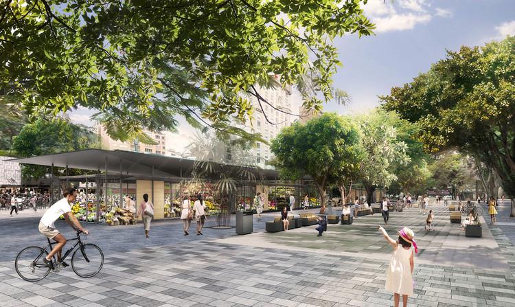 Prefeitura de São Paulo inicia projeto de requalificação do Largo do Arouche desenhado por Triptyque e Estúdio Módulo, Bulevar e mercado. Image Cortesia de Estúdio Módulo