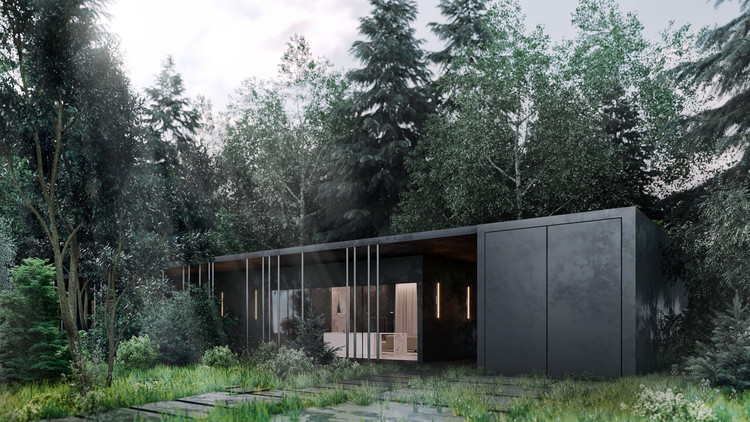 ARCHSLON Creates Black Villa in the Forests Outside Moscow, Courtesy of ARCHSLON