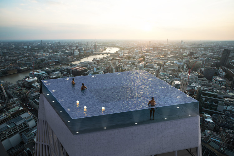 World's First 360-Degree Rooftop Infinity Pool Designed for London, Infinity London. Image Courtesy of Compass Pools