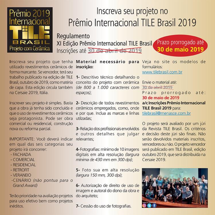 Chamada para Inscrições do XI Prêmio Internacional TILE Brasil - Projeto com Cerâmica, Inscreva já seu Projeto com Cerâmica