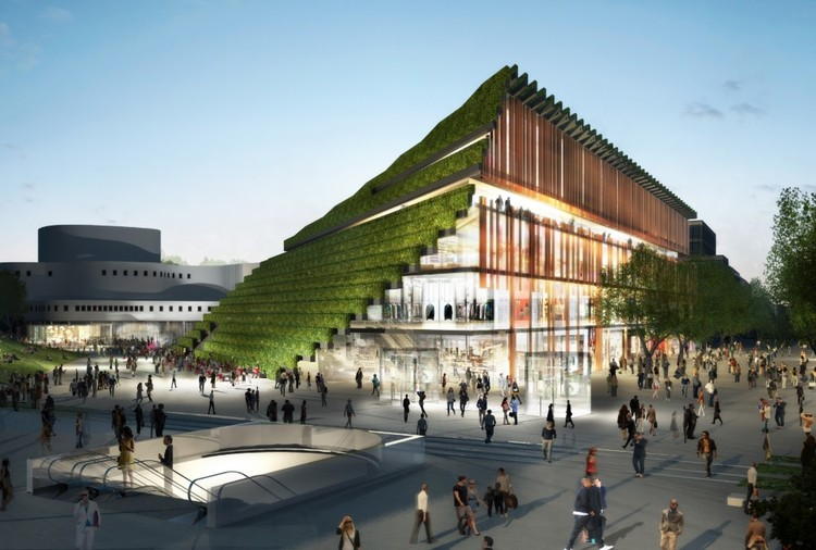 Ingenhoven projeta uma montanha urbana em Düsseldorf, Cortesia de CADMAN