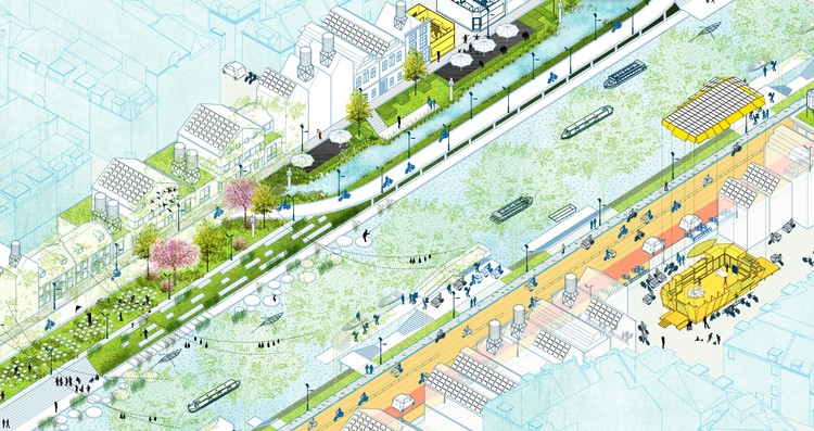 "6 Steps for Designing Healthy Cities,  ""Atelier Stad Breda"", 2015. In the image a series of design strategies touching upon energy, ecology and economy come together."