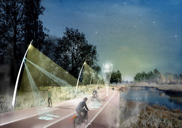 """""""Regional Spatial Agenda – Brabant"""", 2015. A heat network backbone is combined with a fast mobility connection and a biodiversity corridor to create an enhanced cycling experience"""