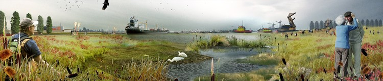 """The """"Urban Metabolism of Rotterdam"""", Ecological flood-planes were created using small dikes to capture sediments."""