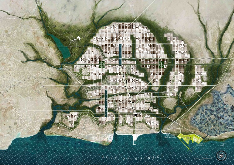 """""""Ningo-PramPram Urban Expansion"""", 2016. project developed for UN Habitat, in collaboration with MLA+, Mixst Urbanisme, More Architecture, OKRA. In the image, an overview of the urban plan."""