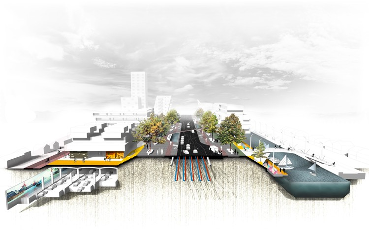 """""""The Highway x The City"""", Diagrammatic representation of increase accessibility by the creating underground traffic lanes."""