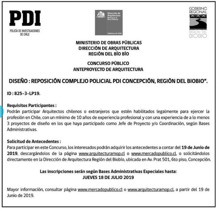 Convocatoria de ideas: reposición del complejo policial de la PDI en Concepción, Chile