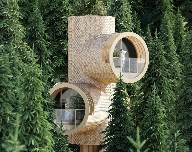 Studio Precht Designs Truncated Tiny-Home Treehouses for Baumbau, Bert. Image Courtesy of Studio Precht