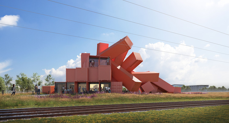 UK Artist Designs Sculptural Building From Shipping Containers, Mach 1. Image © Assembly Studios