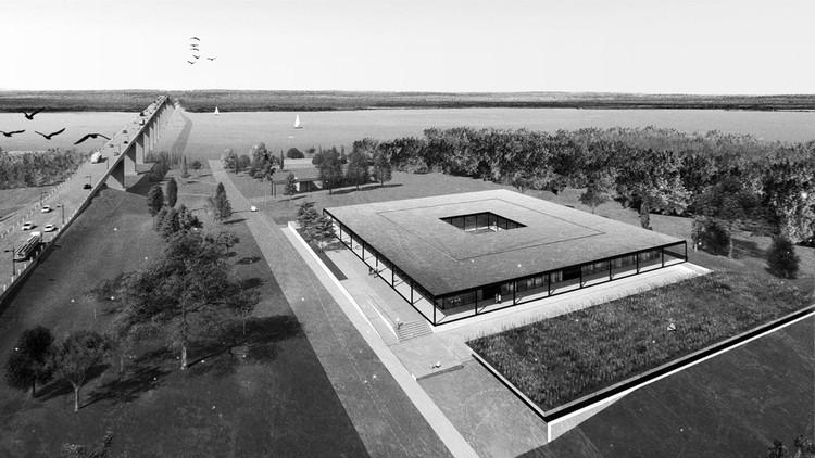 Conoce los ganadores del concurso Laboratorio Ambiental Binacional Argentina-Uruguay CARU, Primer premio. Image Cortesía de Gualano+Gualano Arquitectos