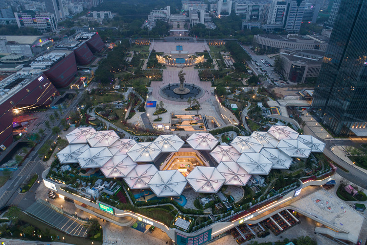 Longcheng Plaza Wankeli Roof Sunshade Design / Ingame, Longcheng Square aerial view. Image © Yu Bai